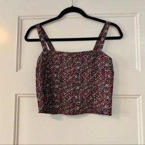 Floral Square Neck Cropped Top